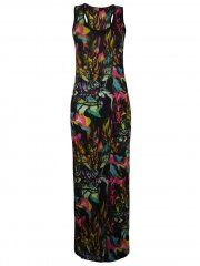 KarmaClothing Black Pink Sleeveless Racer Back Glass Floral Rainforest Maxi Dress