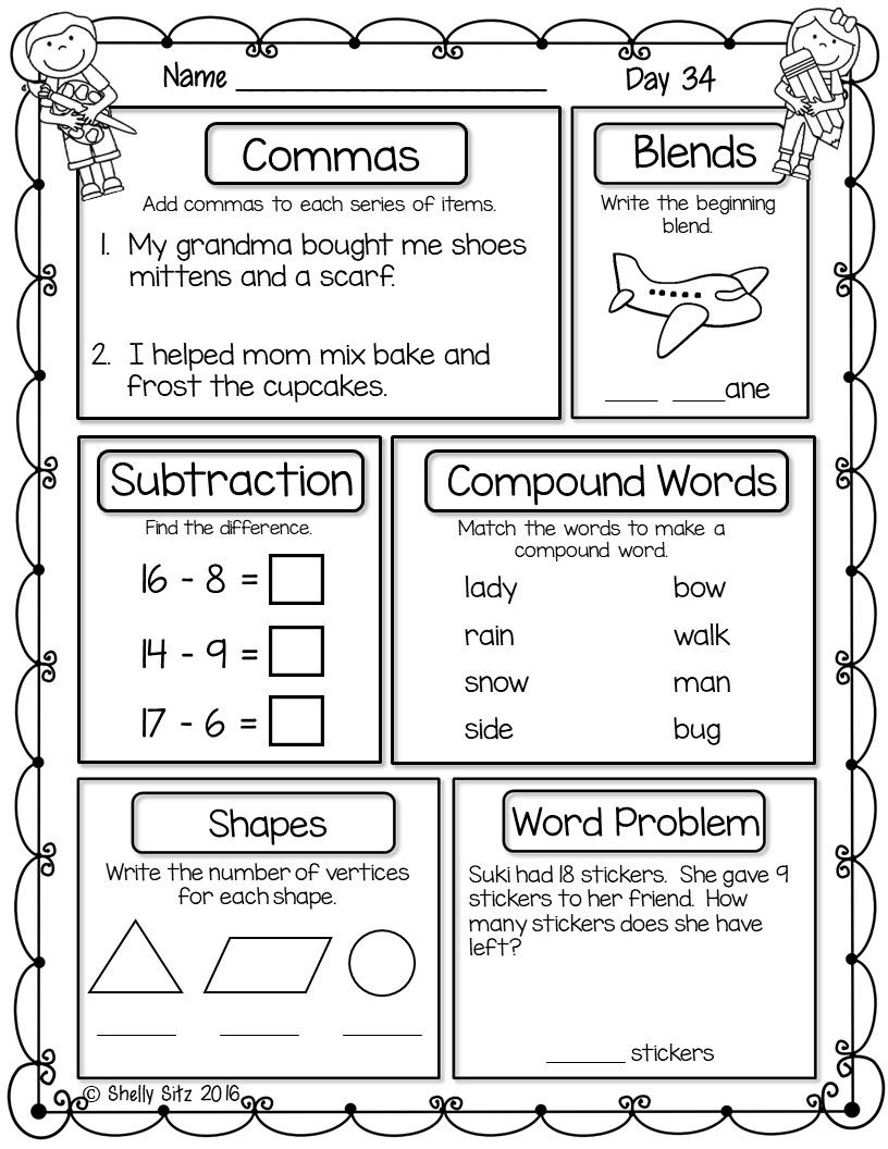 hight resolution of Free spiral review for first grade. Great for morning work