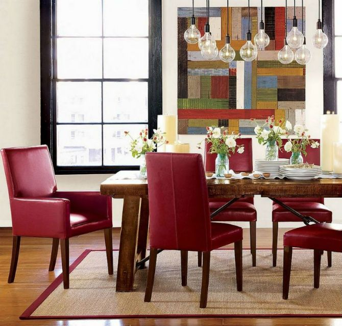 Fill Your Modern Dining Room With Fabulous Red Chairs  Room Ideas Amazing Green Leather Dining Room Chairs Inspiration Design
