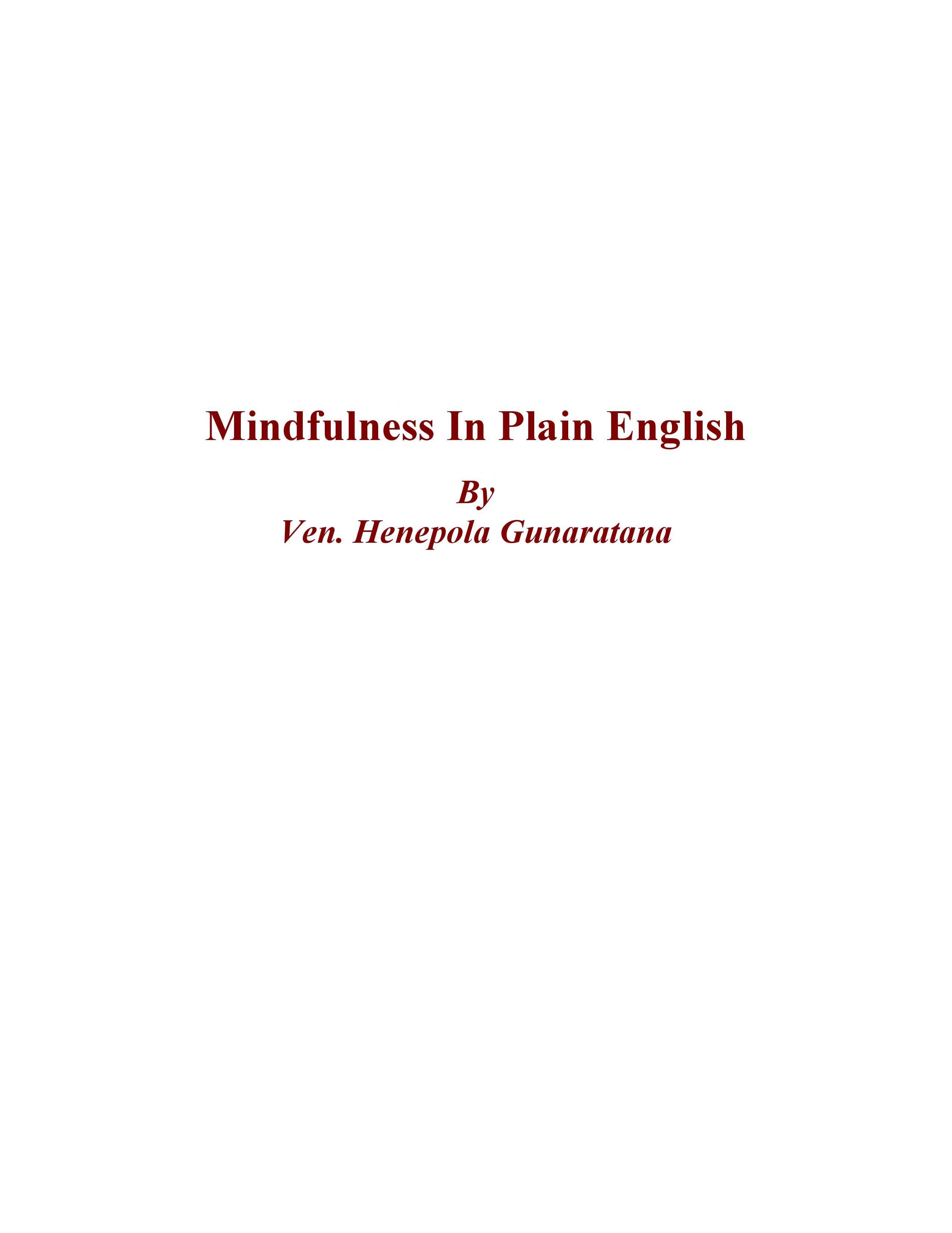 Mindfulness In Plain English Pdf