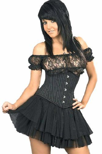 Burleska Womens Underbust Corset Waist Cincher Black Pinstripe (S-22) - Cick image twice for more info - See a larger selection  of underbust corsets at http://zcorsets.com/product-category/underbust-corsets/ - gift ideas for her , women, lingerie, womens fashion, bridal shower gift ideas .