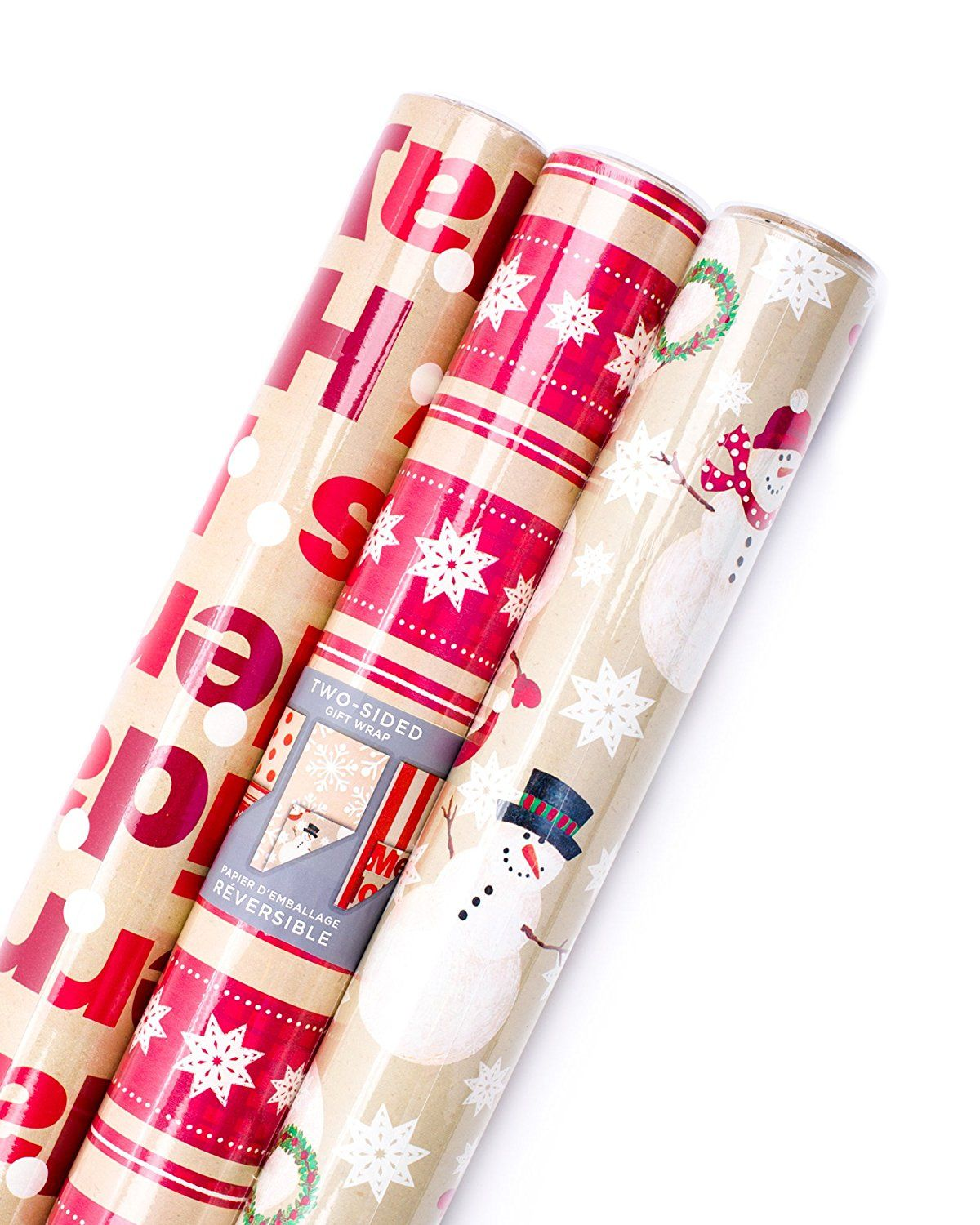 hallmark christmas reversible wrapping paper merry holiday 3 pack walmartcom - Walmart Christmas Wrapping Paper