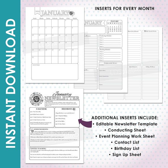 RSFB16B 2016 LDS Relief Society Binder and by LDSPrintable - event sign in sheet template