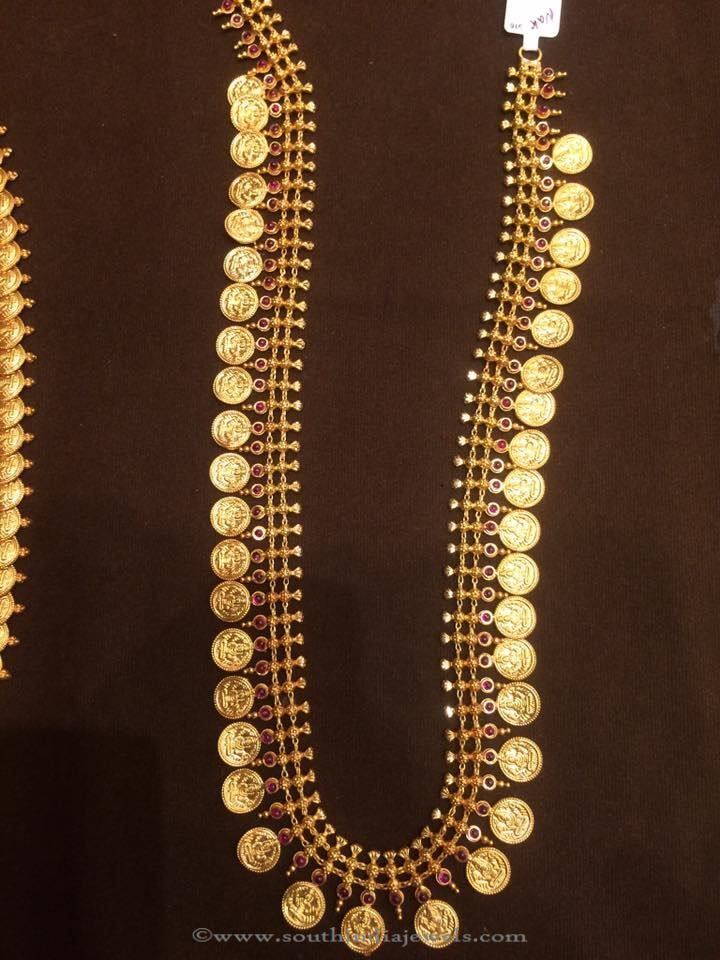 8ef462f36e4a9 50 Grams Gold Long Kasu Haram | veda | Jewelry, Gold ornaments, Gold ...