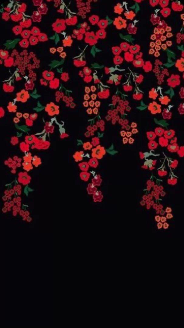 Red Flowers Draw Art