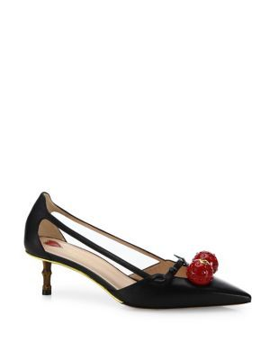 34f0e3a574b GUCCI Unia Cherry-Embellished Leather Pumps.  gucci  shoes  pumps ...