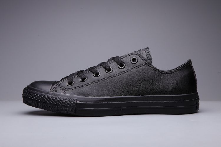 converse Converse Black Leather Low Tops Womens Classic