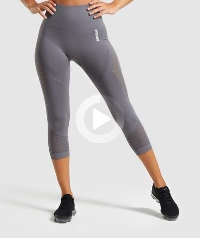 Gymshark Energy+ Seamless Cropped Leggings - Smokey #fitnessworkout #fitness