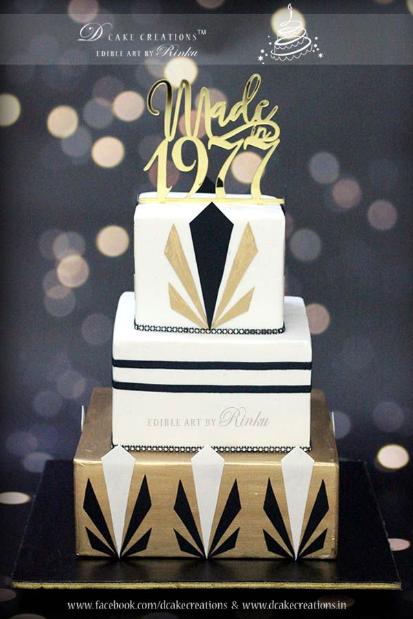 Pleasant Black White Gold Birthday Cake With Images 40Th Birthday Funny Birthday Cards Online Hendilapandamsfinfo