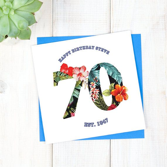 70th Birthday Card Personalised Birthday Card Hawaiian Birthday