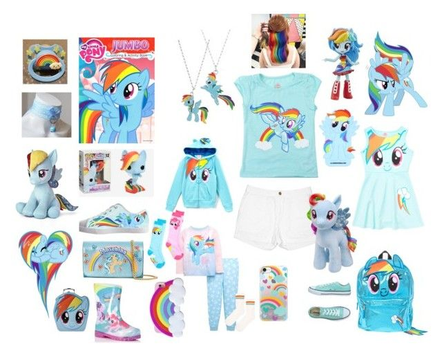 """Rainbow Dash ABDL / DDLG Set"" by pinkyprincesslittle ❤ liked on Polyvore featuring My Little Pony, Funko, Joe Fresh, Moschino, Converse, Casetify, Topshop, George, little and rainbow"