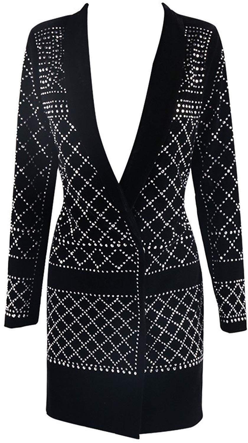 396adc14e1c Missord Women s V Neck Studded Slim Business Casual Long Top Dress Black X- Small at Amazon Women s Coats Shop