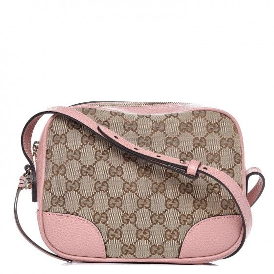 fb71db1b2 This is the authentic GUCCI Monogram Mini Bree Messenger Bag in Pink. This  chic cross