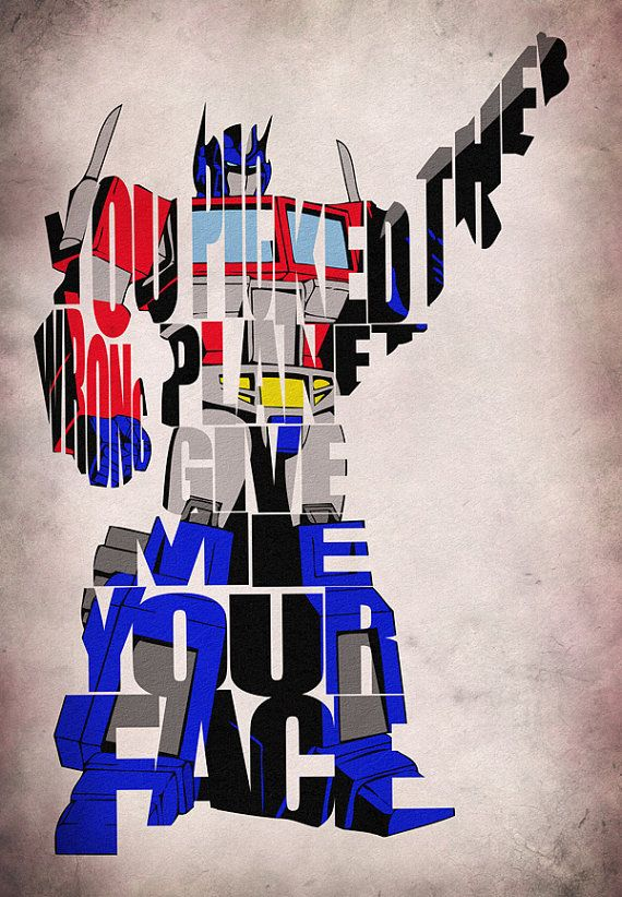 Transformers Inspired Optimus Prime Typographic Print and Poster