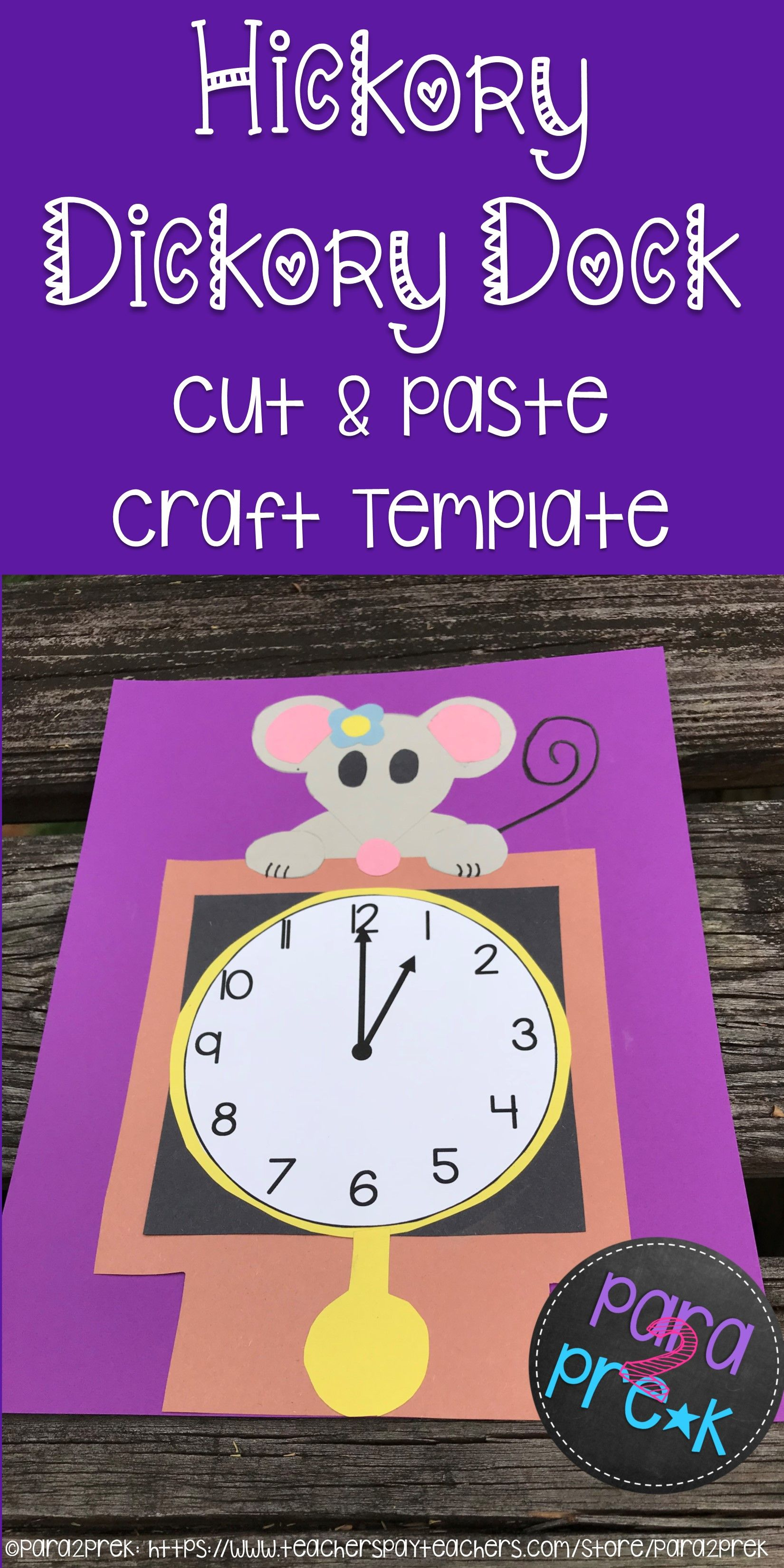 Nursery Rhymes Hickory Dickory Dock Cut And Paste Craft