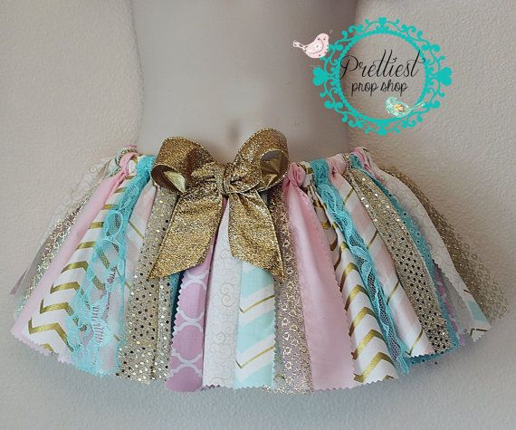 Scrappy Skirt Fabric Tutu Cake Smash First by PrettiestPropShop