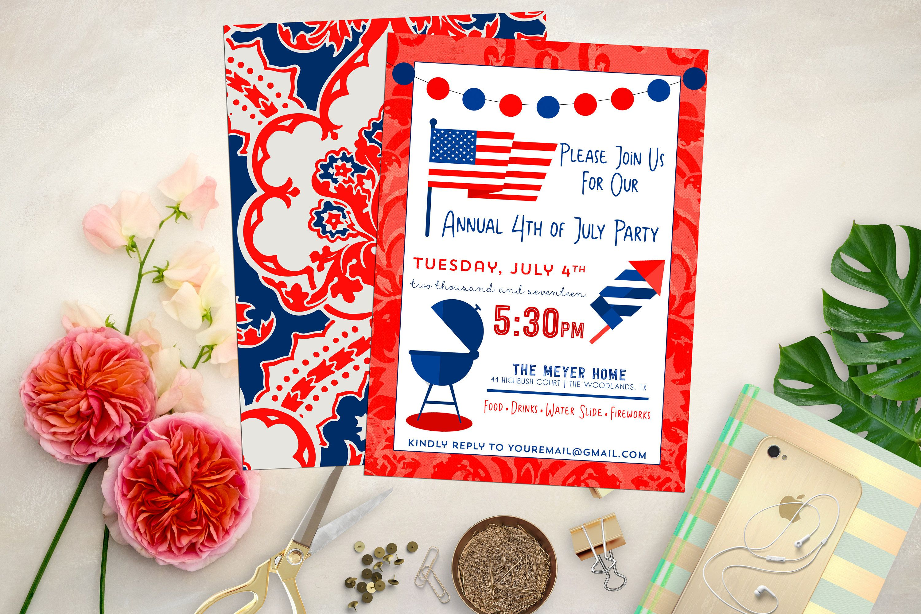 4th of July Party Invite. Firework Invitation. 4th of July ...