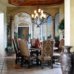 A Favorite Tuscan Decor Decorating Project The Homeowner Chose Our Brown E Dining Chairs To Compliment Her Large Round Table