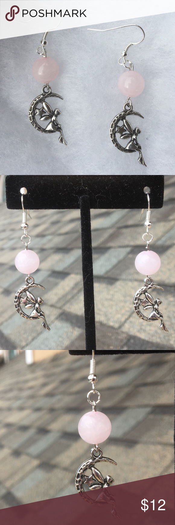 ee251b9c8 Pink Rose Quartz Fairy Earrings These beautiful earrings are made with  natural pink rose quartz and