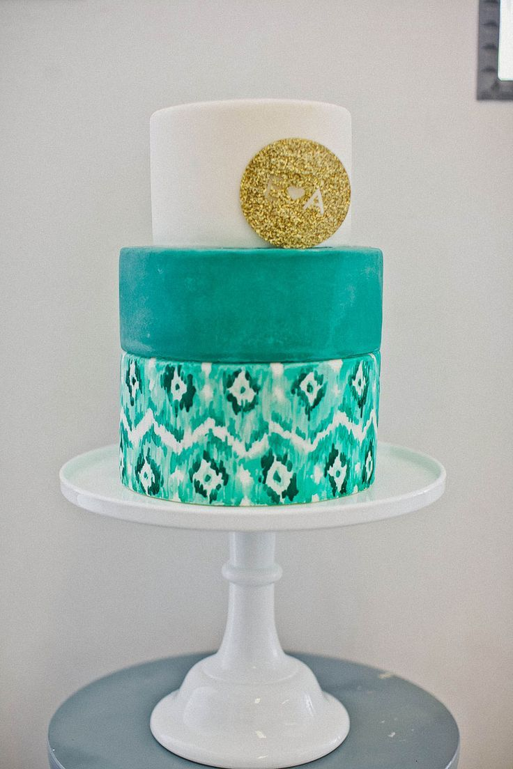 Teal Wedding Cake With A Gold Topper Ikat Tealwedding Weddingcake Goldwedding Caketopper