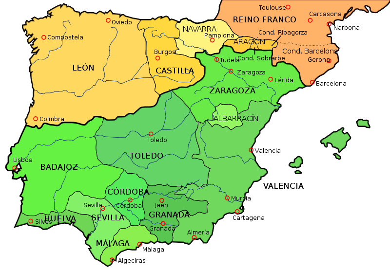 Map Of Spain Under Moorish Rule.Lesson Plan Moorish Iberia 711 1492 Al Andalus Islamic Spain