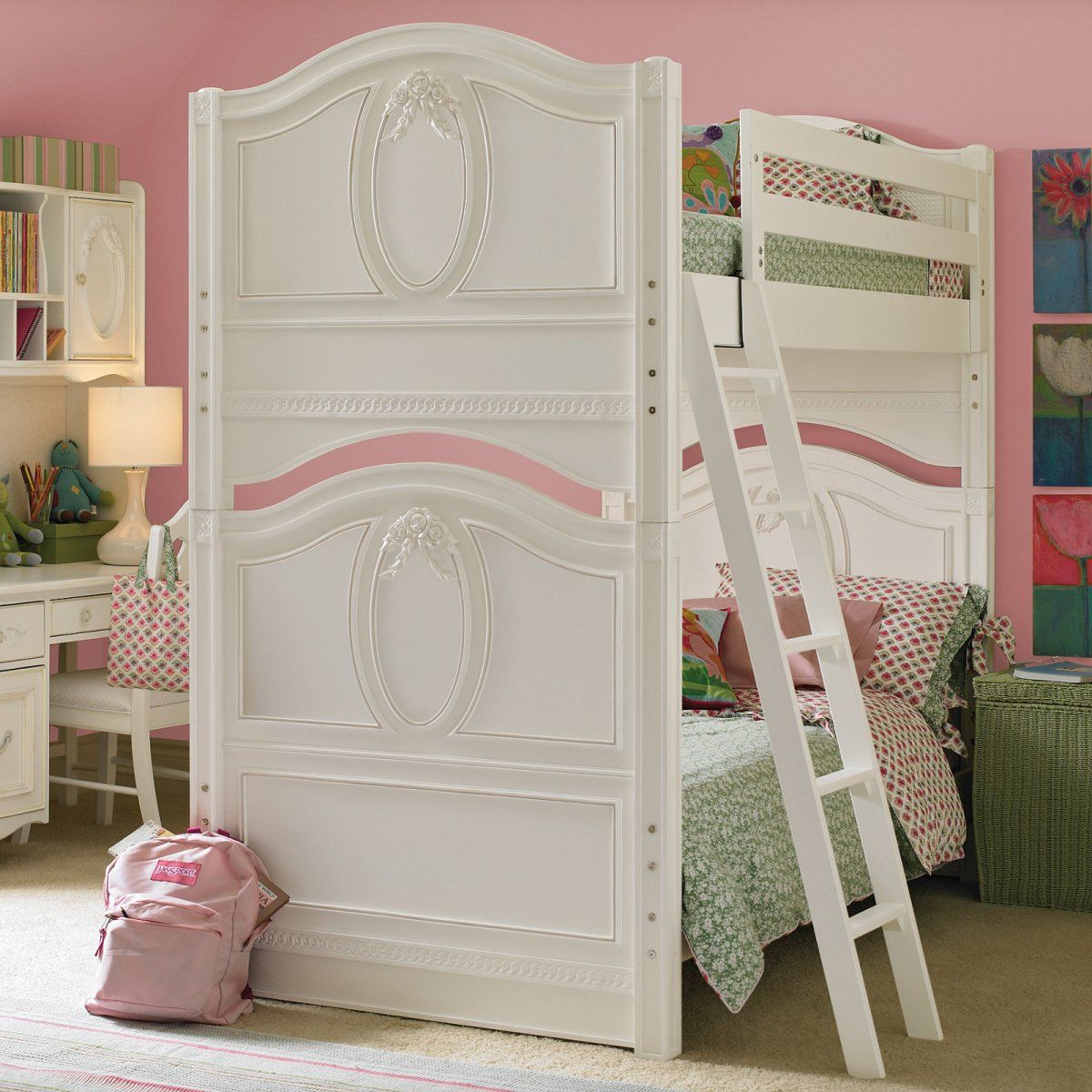Bedroom Decor Styles Toddler Girl Bedroom Paint Ideas Cool Bedroom Wall Art Ideas Bunk Bed Bedroom Sets: Beautiful Wondrous Pink And White Bunk Bed Idea With