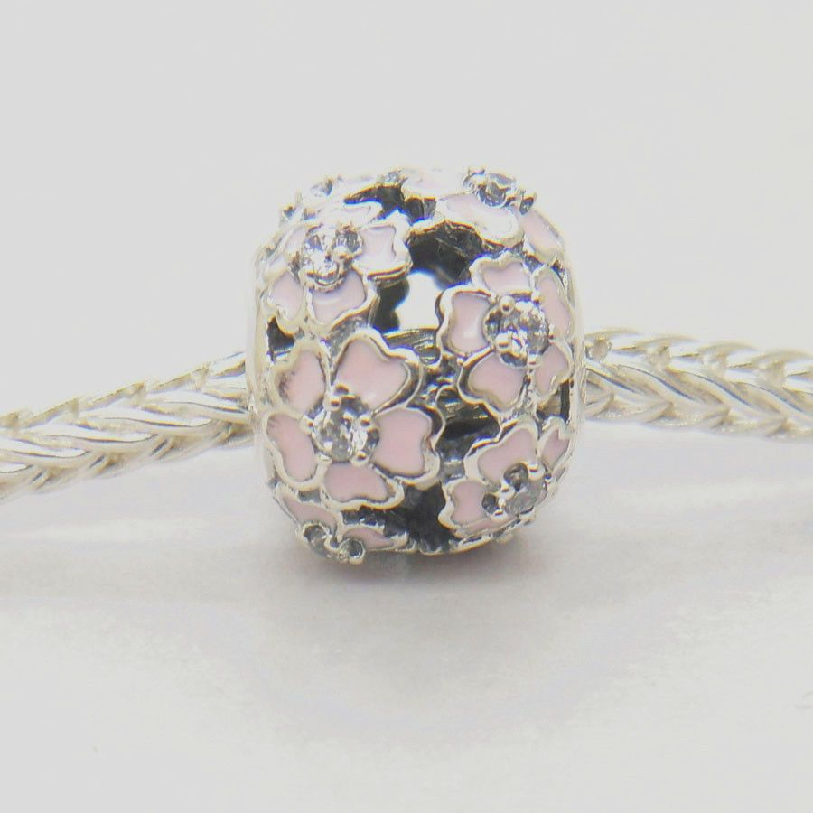2 for £10 Silver Plated Pink Primrose Meadow Flower Charm for Charm Bracelet
