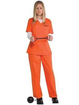 Womens prisoner #costume orange #inmate convict halloween fancy ...