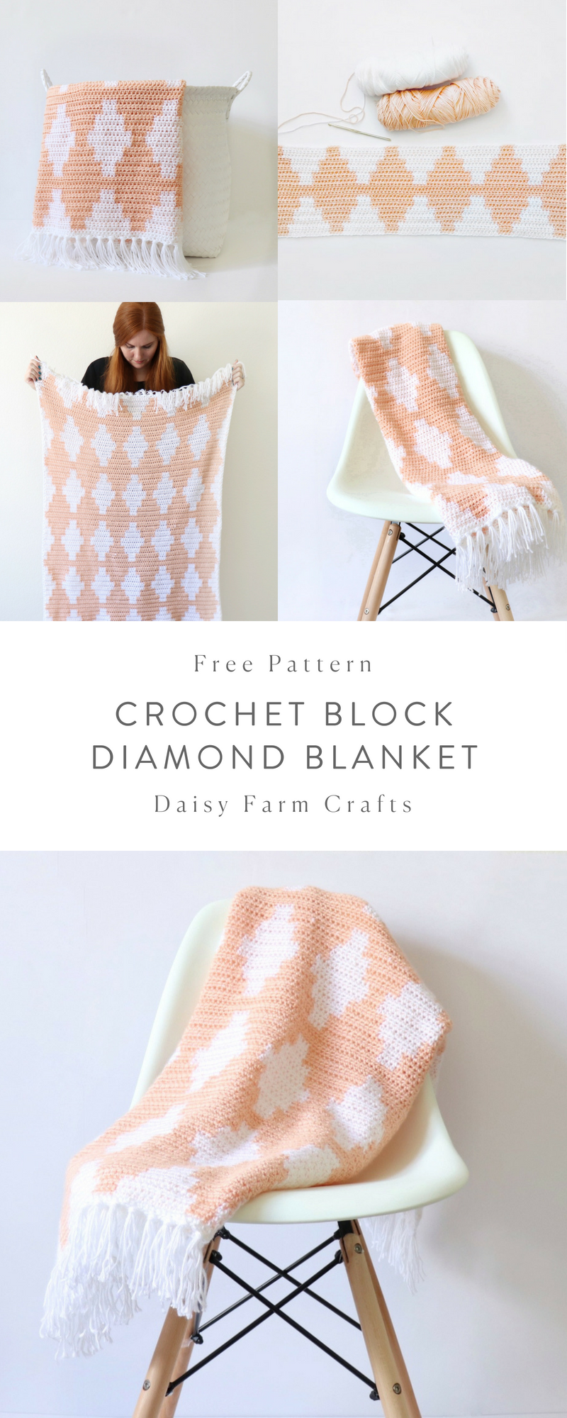 Free Pattern - Crochet Block Diamond Blanket | entretejido ...