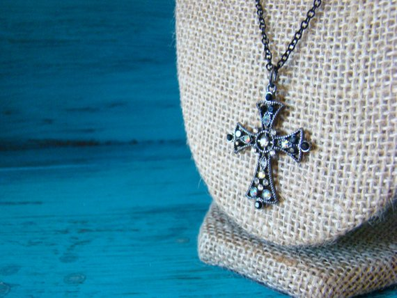 d0eb3324e Women's Handmade Medium Gunmetal Cross Pendant Necklace | Cross Pendant | Cross  Jewelry | Faith | Ch