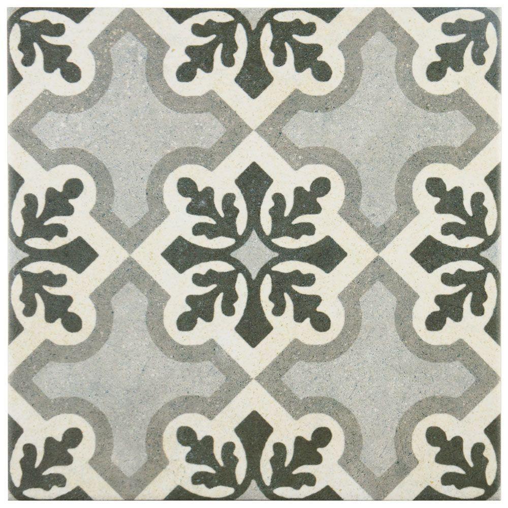 Vintage Ruzafa 9 3 4 Inch X 9 3 4 Inch Porcelain Floor And Wall Tile 10 76 Sq Ft Case Porcelain Flooring Floor And Wall Tile Wall Tiles
