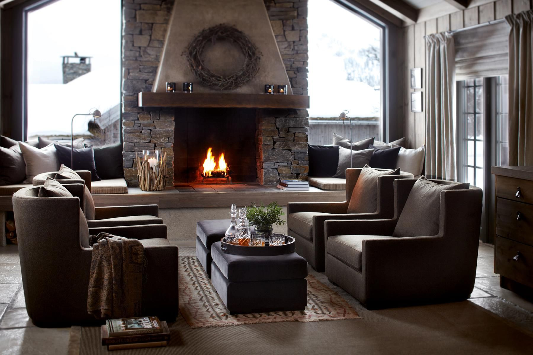 Décor Inspiration A Cosy Ski Lodge With Warm Fire