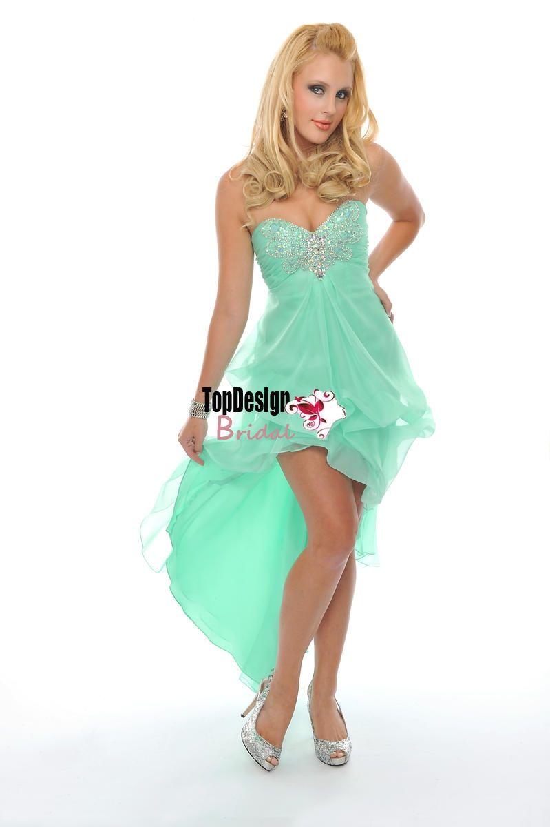 Wholesale free shipping beading high-low lilac chiffon dama dress ...