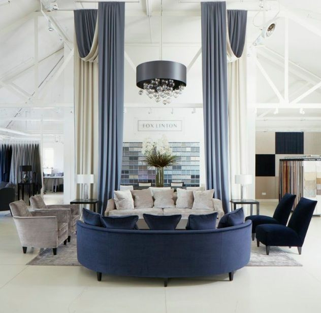 Navy And Grey Visual Merchandising Shop Display November: The Fox Linton Showroom Featuring Silk Wool Drapes And