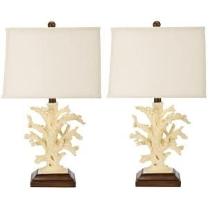 Safavieh Key West 21 in. White/Cream Coral Lamp (Set of 2)-DISCONTINUED-LIT4004A-SET2 at The Home Depot