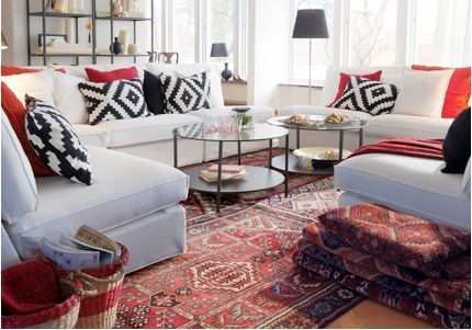 Oriental Rug With Graphic Pillows Ikea Living Room Living Room Furniture Sofas Living Room Designs