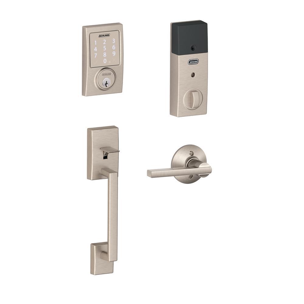 Schlage Century Satin Nickel Sense Smart Door Lock With Latitude Lever Door Handleset Be479aa V Cen 619 Fe285 Cen 619 Lat The Home Depot Smart Door Locks Schlage Satin Nickel Hardware