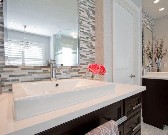 Petruzzi Master Bathroom; White Quartz Counter Tops; Vessel Sinks, Chrome  Faucets, Linear