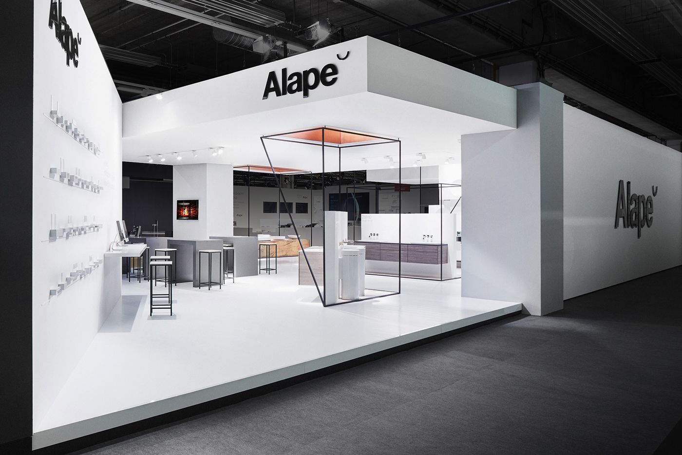 Exhibition Stand Design Process : Alape minimal architectural exhibition grids and