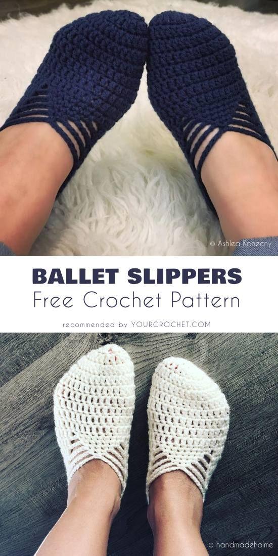 Easy Ballet Slippers Crochet Pattern Free | Adults booties Crochet ...