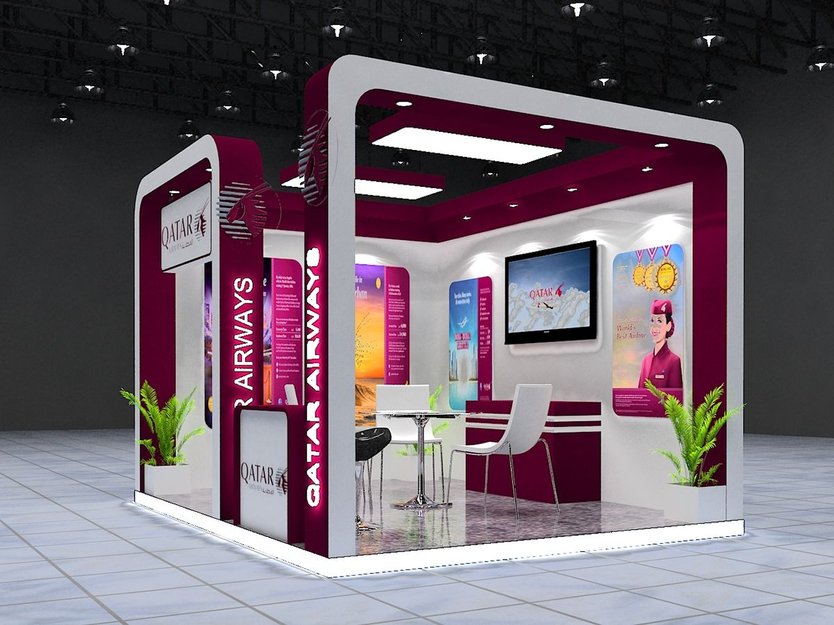 Exhibition Stall Design : Exhibition stall design for qatar airways nd