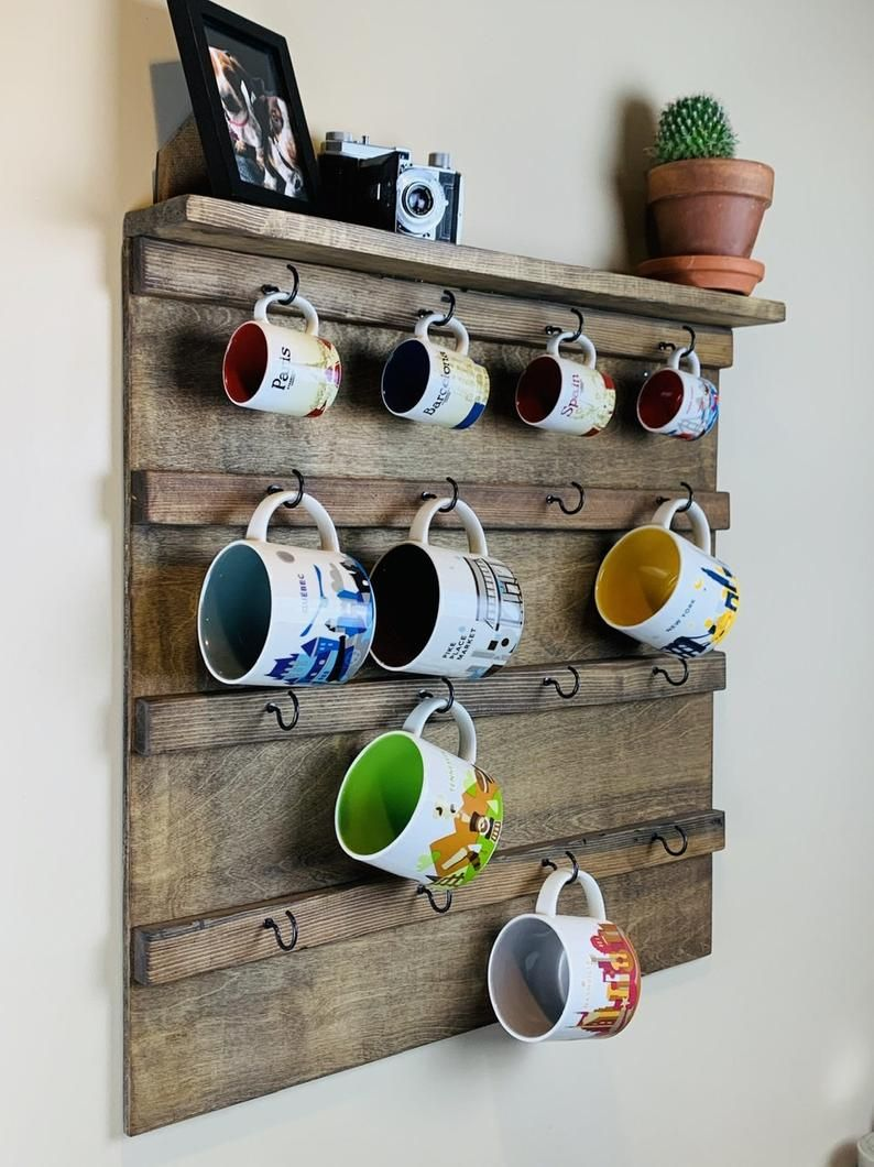 Coffee Mug Holder With Display Shelf Wall Mounted Coffee Mug Holder Coffee Mug Rack Coffee Mug Display Mug Cup Shelf Storage Starbucks In 2020 Coffee Mug Holder Coffee Mug Display Mug Holder