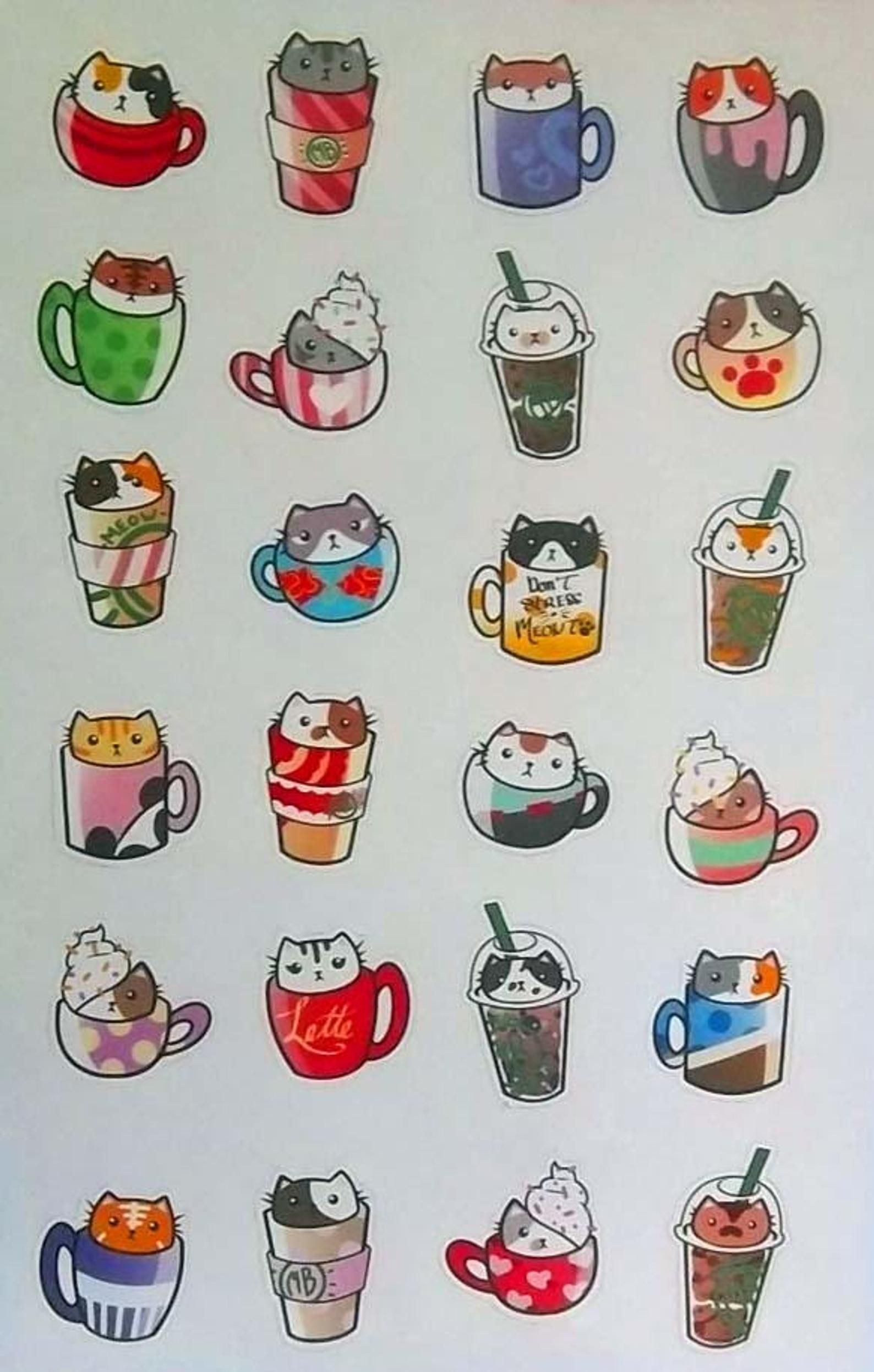 Coffee Cat Planner Stickers! Cat-puccino! Cute Coffee and Cats Stickers! Kawaii Coffee Cat Stickers! Bullet Journal Stickers