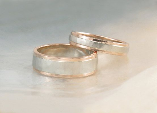 0fe3268cdf50c0 Rose gold and white gold wedding band set -- hammered two tone wedding rings  with step-down edges