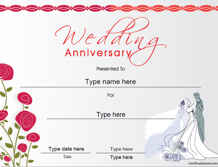 Anniversary Certificate Template Free 1 Templates Example Templates Example
