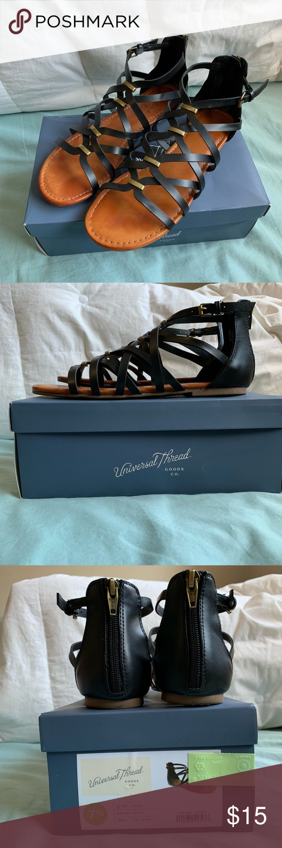 3b1232e77ef Black Universal thread gladiator sandals - Target Worn one day. They didn t  fit me. Super cute