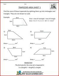 Trapezoid Area Worksheet Printable Shape Worksheets 5th