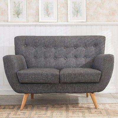 Details About Vintage Sofa Furniture Living Room Retro 2 Seater Couch Grey  Fabric Wooden Legs