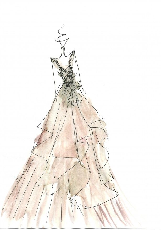 Watercolour Fashion Sketch Delicate Dress Drawing Carol