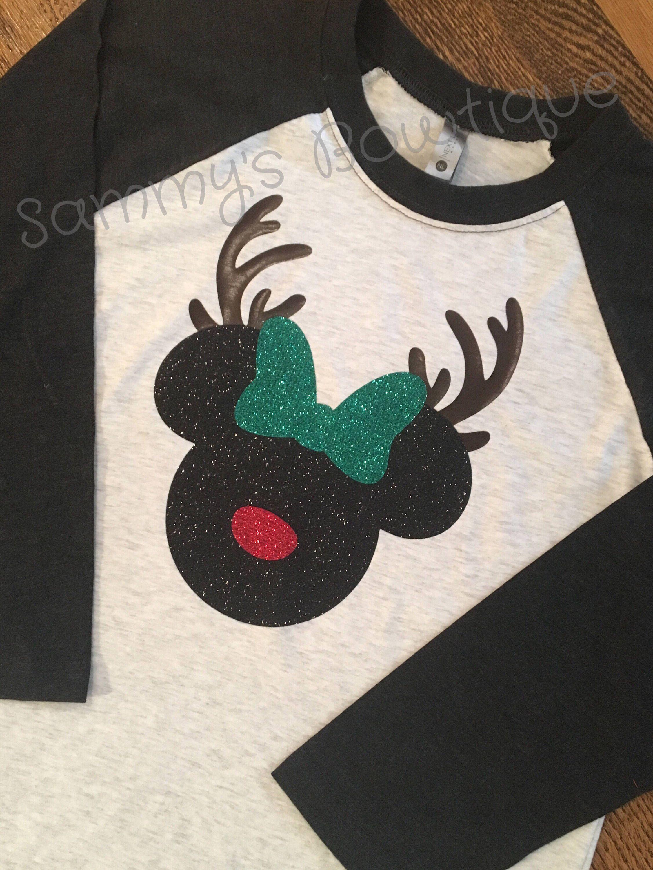 90f6f28f56eb0 Disney Christmas Minnie reindeer 3/4 Sleeve Raglan T-shirt! Womens, Disney